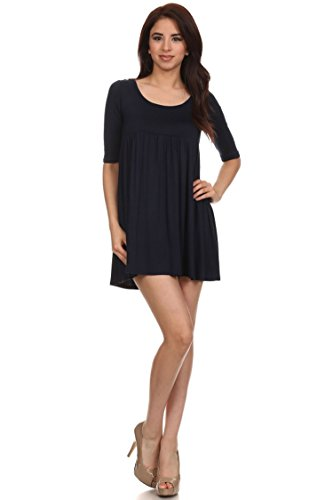 Midi Tunic in Made Dress USA Top Solid Casual Women's Neck Navy Hte00016 Round HYFgIq