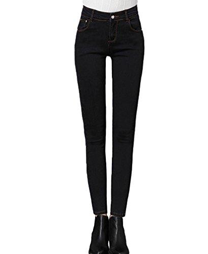Jeans jean molleton Skinny pantalon taille Jean haute Femmes pantalons Casual en double slim Sentao Collant Noir Longue Classique chaud qP01Txw