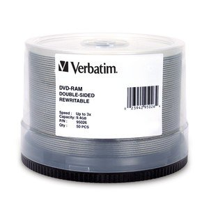 Verbatim - Disc DVD-RAM 9.4GB R/W double sided DataLifePlusHardcoated50/spdle 3X by Verbatim