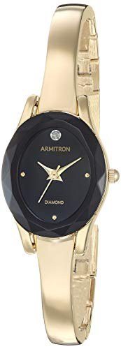 - Armitron Women's 75/5619BKGP Diamond-Accented Gold-Tone Bangle Watch