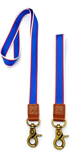 Card Holder Monkey (Happy Monkey Neck Lanyards Hand Wrist Lanyard Quality Strap with Metal Clasp and Genuine Leather for Key Chain/ID Card/Badge Holder etc (2Pack) (Blue))