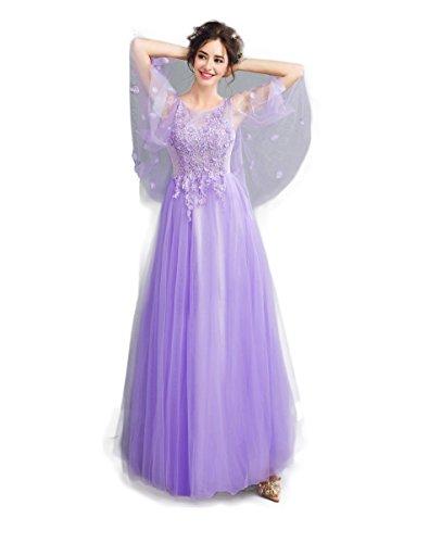 すずめ包囲うなずくロングドレス演奏会 イブニングドレス結婚式 パーティードレス 二次会 披露宴 成人式 ワンピース 夢の紫