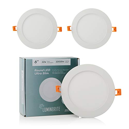 Lumin Brite Round Dimmable LED Recessed Ceiling Light Panel (6-Inch)| Residential 12W 1000lm High Lumens | Slim Profile 3000K Disk Light for Home | ETL Listed/Energy Star Certification | Soft 3 Pack