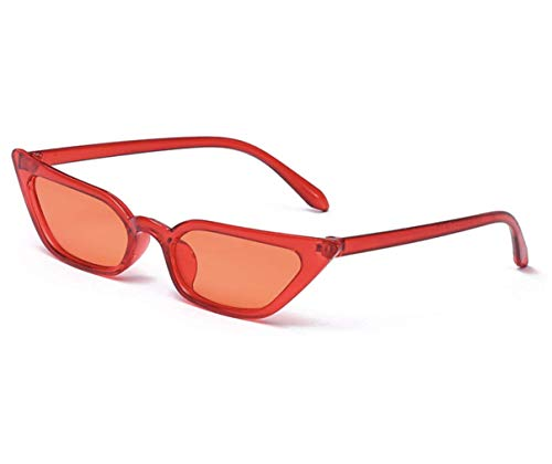 Small Frame Skinny Cat Eye Sunglasses for Women Colorful Mini Narrow Square Retro Cateye Vintage Sunglasses by W&Y YING (Red Style (Best Radians Eye Glasses)