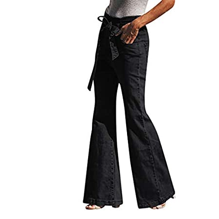 Womens High Waisted Denim Flare Pants Plus Size Slim Butt Lift Bell Bottom Ripped Stretchy Jeans Pant Distressed Belted Paperbag Pants