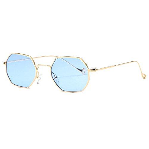 AEVOGUE Unisex Sunglasses Small Metal Frame Asymmetry Temple AE0520 (Gold&Blue, - Subglasses Vintage