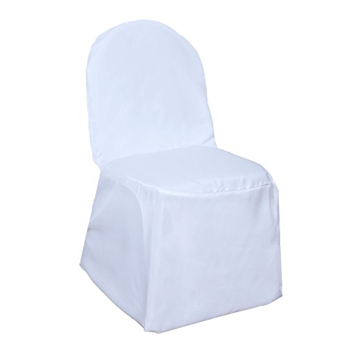 BalsaCircle 50 pcs White Polyester Banquet Chair Covers for Party Wedding Linens Decorations Dinning Ceremony Reception Supplies]()