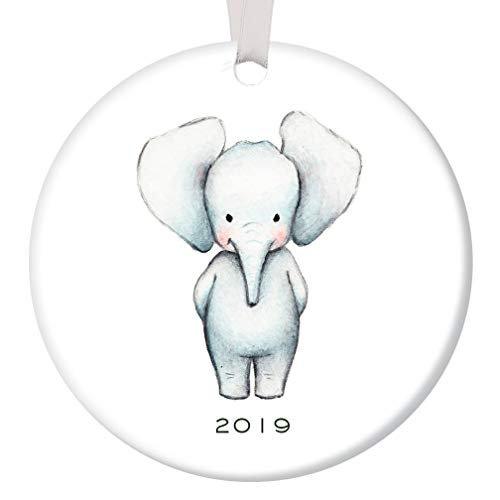 Baby Ornament 2019 Baby Elephant Porcelain Ceramic Ornament, 3 Flat Circle Christmas Ornament with Glossy Glaze, White Ribbon & Free Gift Box | OR00076 Aiden