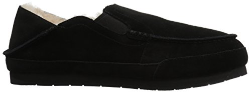 206 Collective Hombres Bower Plegable Back Shearling Moccasin Slipper Black Suede