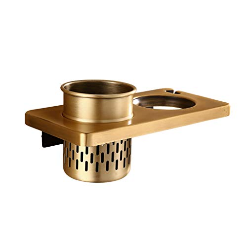 Brass Tray Plug - Betty Space Aluminum Hair Dryer Holder, Wall Mount Hair Dryer Hanging Rack with Cup for Comb Socket Plug Holder,Without Drilling (Color : Antique Brass)