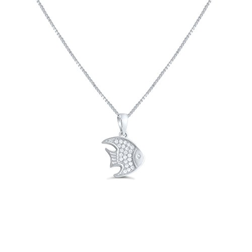Angel Fish Necklace - Sterling Silver Cz Angelfish Necklace 18