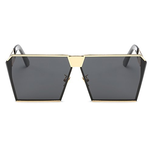 Sunglasses Gray Flat CVOO Metal Sunglasses Oversized Top Frame Square w0q68g
