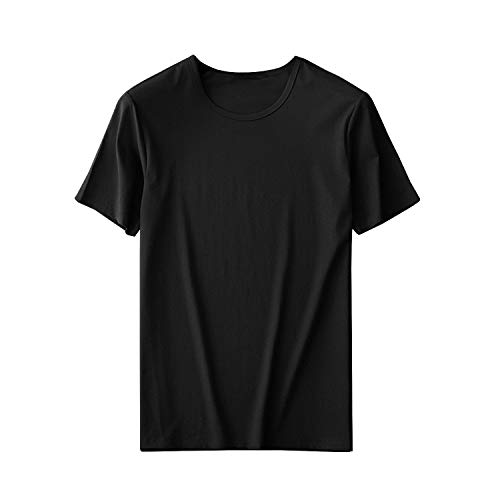 UOhost 10PCS Black T-Shirts Blank Sublimation T-Shirts Short Sleeve Christmas DIY Crewneck Washed T-Shirts for Women Men