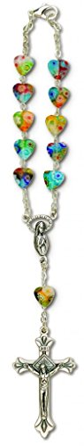 One Decade Auto Rosary For Rear View Mirror (Imitation Murano Glass Heart)