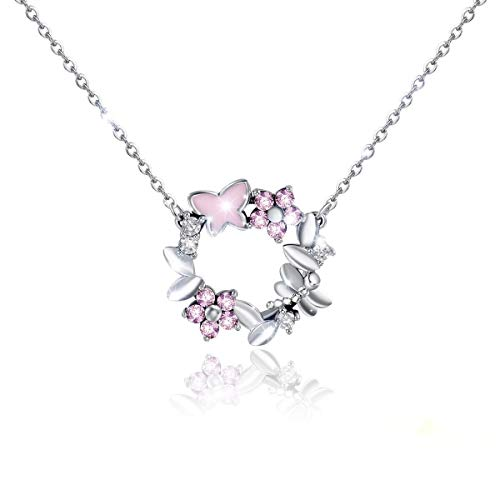 H-Rose Sweet Girl Heart Butterfly Necklace Sterling Silver Elegant Crystals Cherry Blossom Wreath Pendant Fine for Women Gift Jewelry