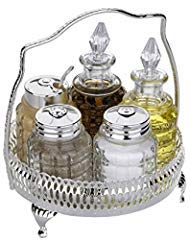 - Cruet Caddy Silver Plated Includes Salt Pepper Mustard Oil Vinegar Bottles Made in England