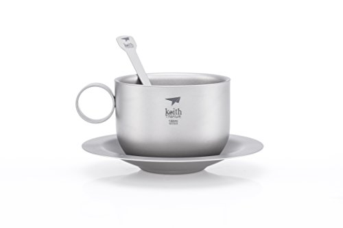 Keith Titanium Ti3601 Double-Wall Coffee Cup with Saucer and Spoon