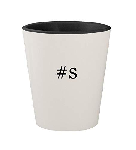 #s - Ceramic Hashtag White Outer & Black Inner 1.5oz Shot Glass