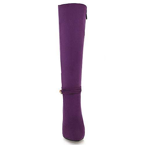 Fashion Mid Taoffen Purple Boots Women Calf Stiletto z15AnP