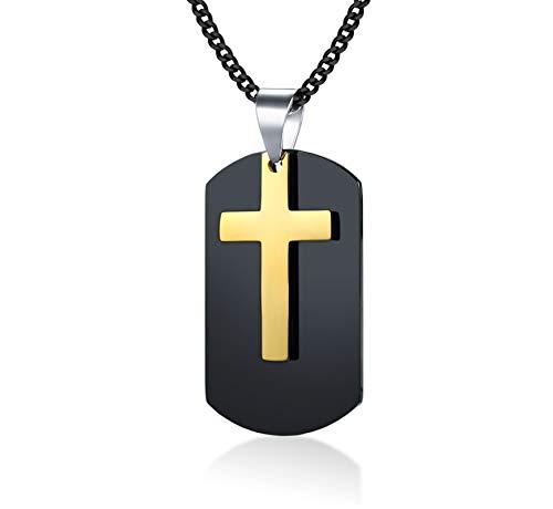 - Gnzoe Mens 2 Pieces Cross Pendant + Plain Dog Tag Pendant Necklace Surgical Steel 60CM - Gold