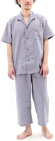 パジャマ 半袖 前開き ストレッチ 二重 ガーゼ メンズ/インディゴネイビー・LBサイズ