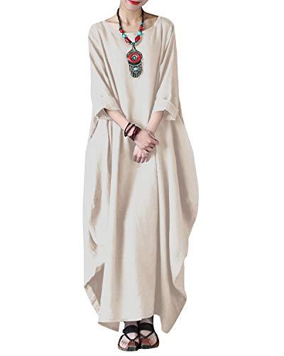 VONDA Women's Summer Maxi Dress Short Sleeve Retro Casual Dresses Loose V Neck Gowns