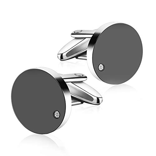 TAIKE Cufflinks for Men Stainless Steel with Crystal Tuxedo Shirt Cufflinks Business Wedding Party/Mens Cuff Links (Black) from TAIKE