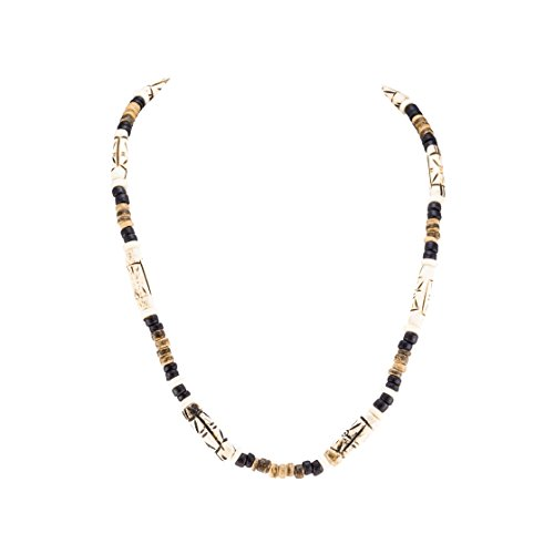 BlueRica Tiger and Black Coconut Beads Necklace with Tribal Bone Tube Beads ()