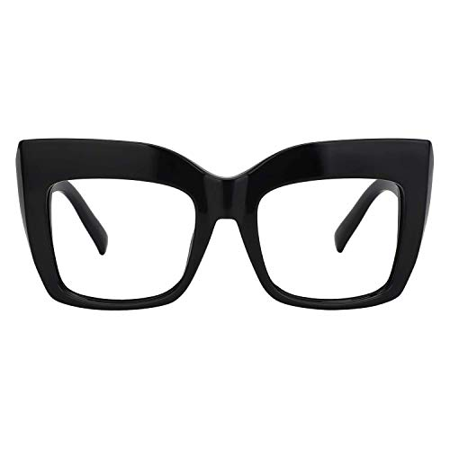 094b9d4900cd1 Zeelool Vintage Oversized Thick Cat Eye Glasses for Women with Clear Lens  Alberta FP0668-01 Black