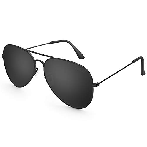 (LIVHO Classic Aviator Sunglasses for Women Men Polarized,Metal Frame Mirror UV Lens Protection(Black Grey, 58) )