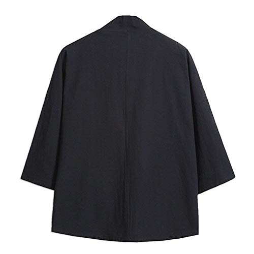 Apparel Sleeve Haori Drawstring 4 Jacket Casual Men's 3 Front Huixin Black Open Loose Summer Embroidery Kimono Cloak Youth Jacket qaTYZw0