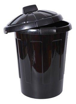 2 x New Black 80 litre Dustbins Waste Bin Storage Bin For Kitchen Everyday Use by Shopwiz by Shopwiz