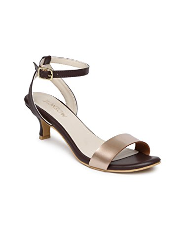598f7f9144745 Monrow Brown PU Ankle Strap ope-Toe Kitten Heel for Womens and Girls: Buy  Online at Low Prices in India - Amazon.in