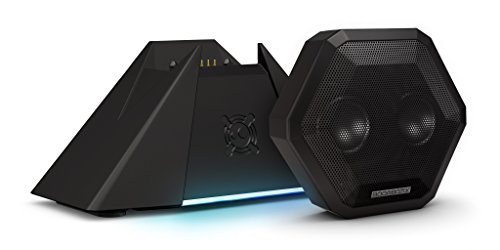 Boombotix - Boombot Bass Station, Wireless Ultraportable Weatherproof Bluetooth Speaker with Subwoofer Dock, Pitch Black