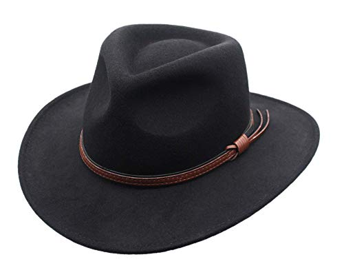 Men's Outback Wool Cowboy Hat Bozeman Black Crushable Western by Silver Canyon