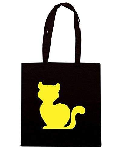 T-Shirtshock - Borsa Shopping FUN0960 cat silhouet decal 00677 Nero