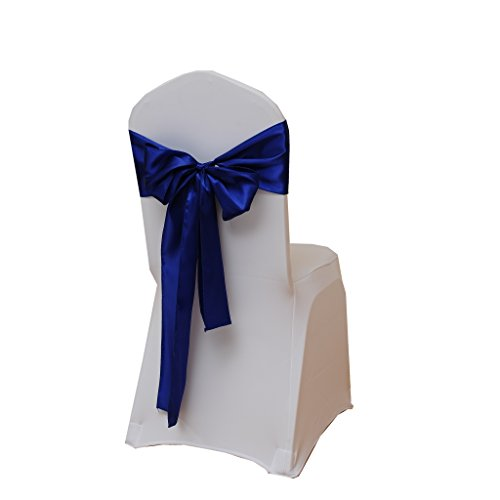 Fvstar 25pcs Royal Blue Satin Wedding Chair Sashes Bows Party Chair Ribbon Sash Chairs Back Tie Bands for Bridal and Events Supplies Christmas New Year Banquet Decorations Without White Covers]()