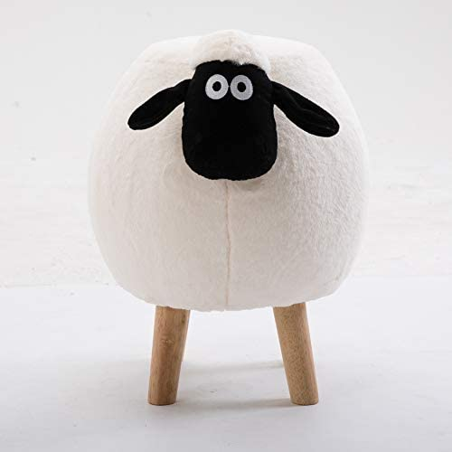 Lovehouse Velvet Ottoman Stool, Animal Ottoman Upholstered Round Plush Thick Padded Foot Stool with Vivid Adorable Animal-White