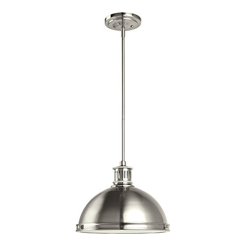 (Sea Gull Lighting 65086-962 Pratt Street Metal Two-Light Pendant with Clear Textured Glass Diffuser, Brushed Nickel Finish )
