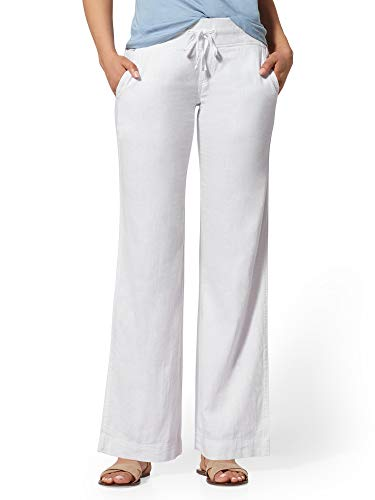 New York & Co. Petite Linen-Blend Wide-Leg Pant - Medium Optic White