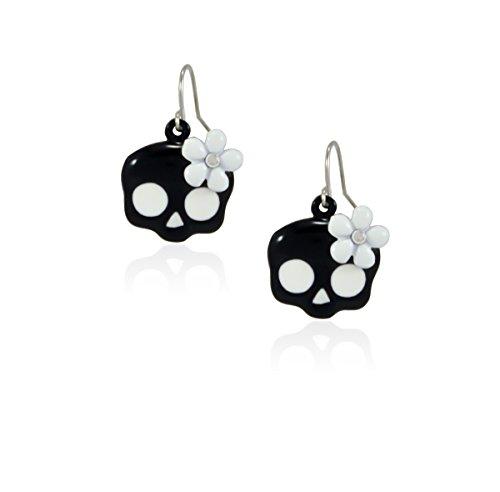 fidaShop Cute Skull Crystal Flower Dangle Earrings Nickel Free Jewelry (White Flower) ()