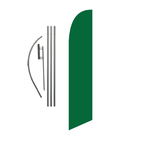 Solid Dark Green 15ft Feather Banner Swooper Flag Kit - INCLUDES 15FT POLE KIT w/ GROUND SPIKE Reflections Solid Green