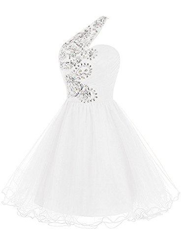 Promkleid Kurz Festkleid Abendkleid Weiß Ein Damen Organza Liebling Schulter Steine Cocktailkleid Ivydressing Yq0wSfFw
