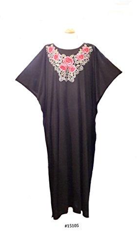 (14710Noir) Mesdames Diamante coton/polyester KNITT Long pour étiquette (Satin). Taille unique du 36 au 46
