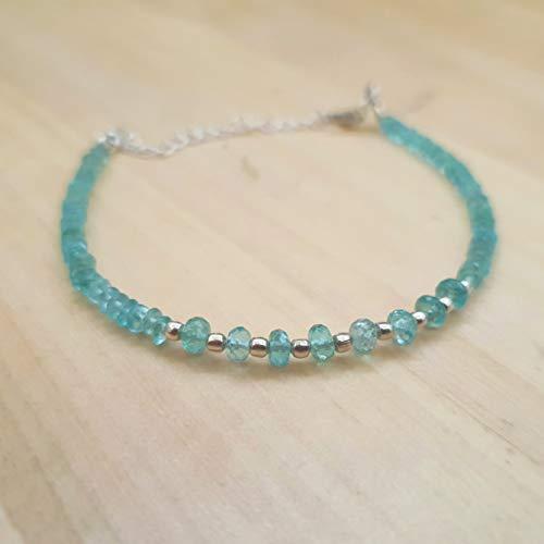 Dainty Sky Blue Apatite Beads Bracelet Sterling Silver 6.50