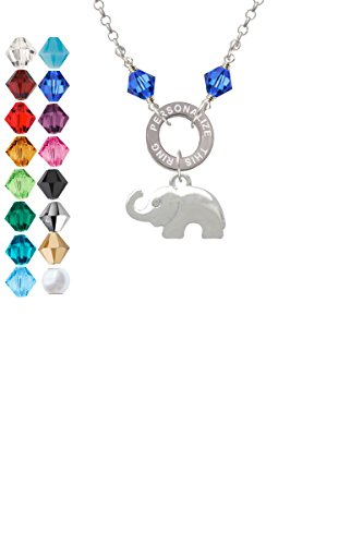 Elephant with Crystal Eyes Custom Engraved Name Ring Crystal Necklace
