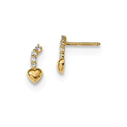 Solid 14k Yellow Gold Polished CZ Cubic Zirconia Heart Dangle Screwback Post Earrings (3.8mm x ()