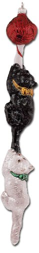 "Slavic Treasures ""Kitten Cane"" Collectible Blown Glass Ornament #99-113-A"