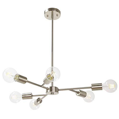 (Lucide Pendant Lighting Sputnik Chandelier Contemporary 6 Lights Stem Hung Chandelier Fixture Modern Ceiling Lamp with Brushed Nickel Hanging Flush Mount for Hallway Bar Kitchen Dining Room)