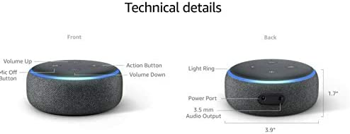 Portable Smart Speaker (Echo-Dot) third Generation w/Alexa Voice Control Charcoal